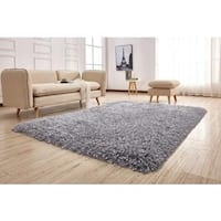 Silver Polyester Plush Hand-tufted High-pile Area Rug - 5' x 7'