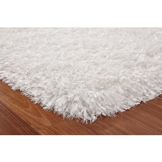 White Polyester Hand Tufted Shag Area Rug (5 x 7)