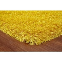 Vibrant Yellow Polyester Hand-tufted Area Rug - 5' x 7'