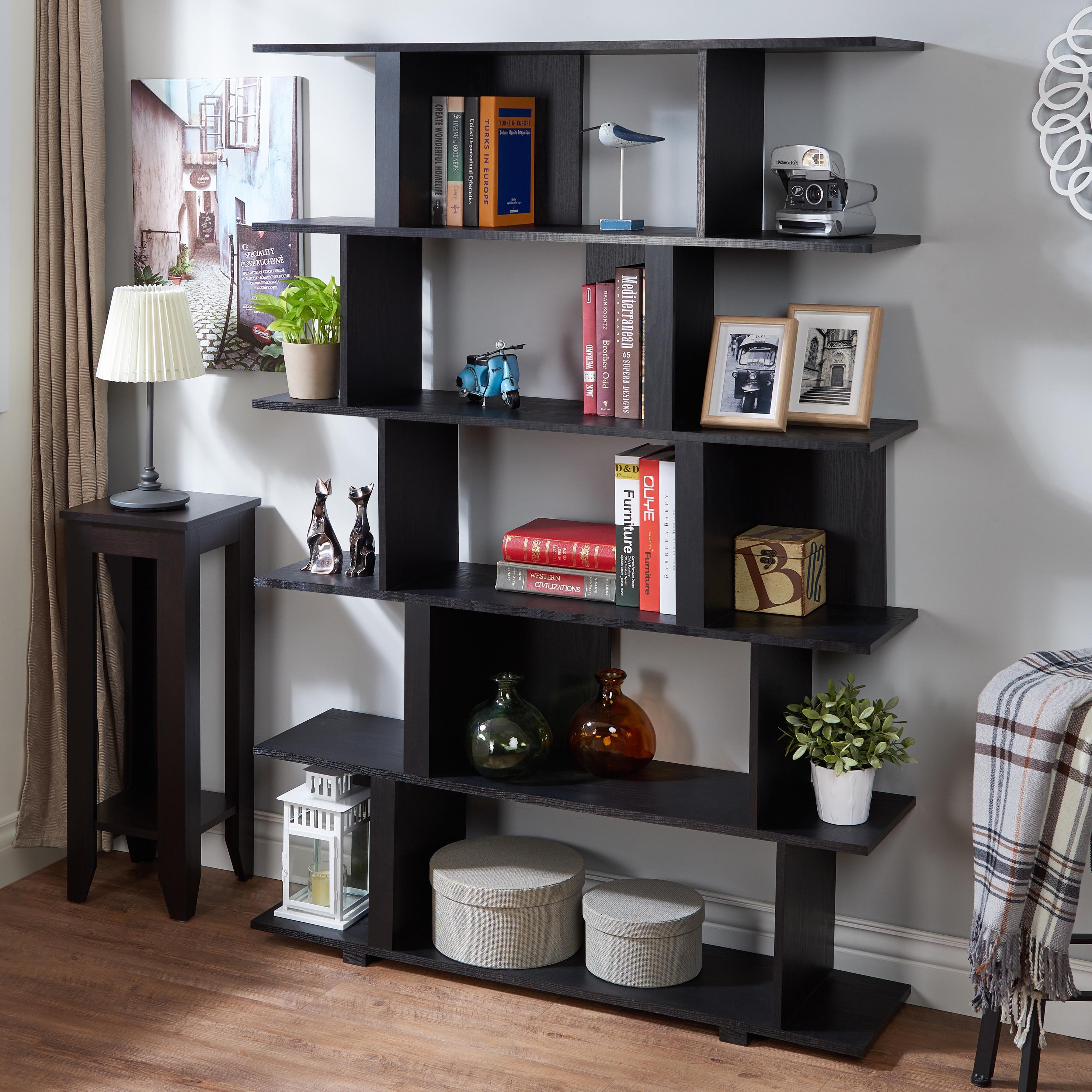 Furniture Of America Lian Modern Black Open Shelf Bookcase Room Divider Overstock 13777971