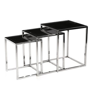 Chrome Metal 3-piece Nesting Table with Black Glass Tops