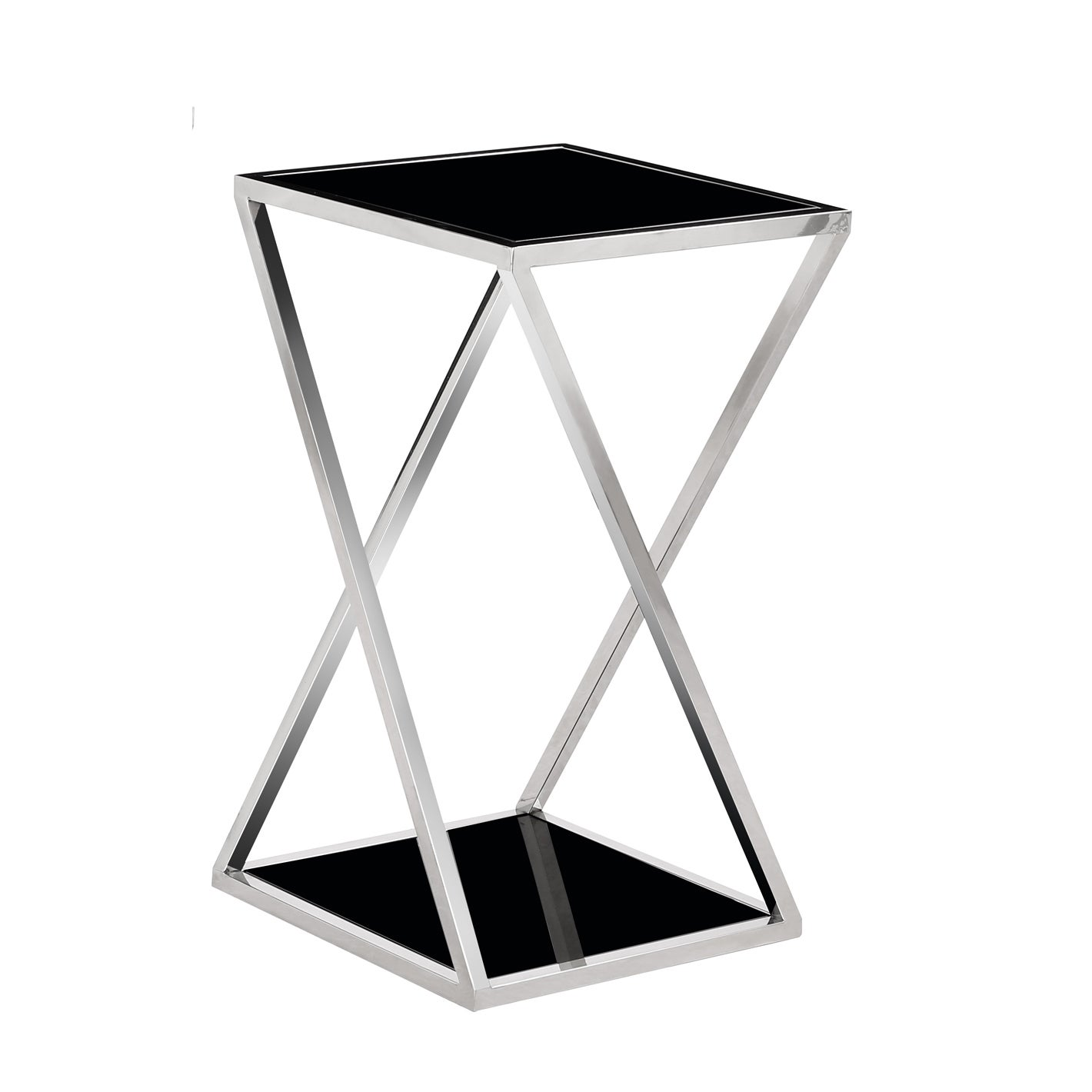 Zena Chrome Metal And Black Glass Top End Table Overstock 13777980