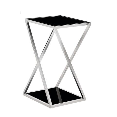 Zena Chrome Metal and Black Glass Top End Table