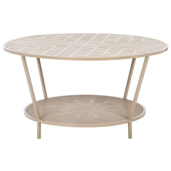 Safavieh Couture High Line Collection Brielle Beige Faux Stingray Coffee  Table   Free Shipping Today   Overstock.com   20430465