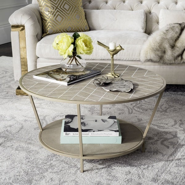 Safavieh Couture High Line Collection Brielle Beige Faux Stingray Coffee  Table