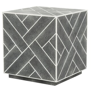 Safavieh Couture High Line Collection Emil Black Faux Stingray Cube End Table