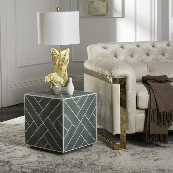 Safavieh Couture High Line Collection Emil Blue Faux Stingray Cube End Table