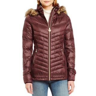 Michael Kors Women's Burgundy Faux Fur Hooded Packable Coat