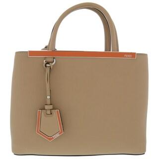 Fendi 2Jours Elite Brown Leather Shopper Handbag