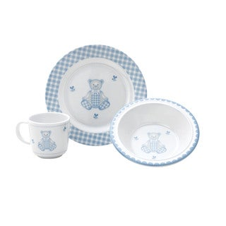 Reed and Barton Gingham Bear 3-piece Dinnerware Set