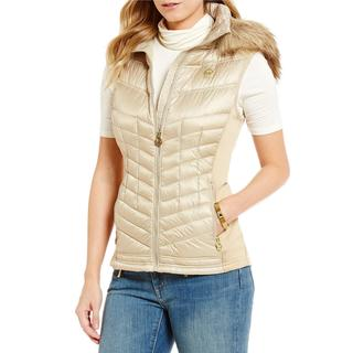 Michael Kors Women's Beige Faux Fur Hooded Puffer Vest