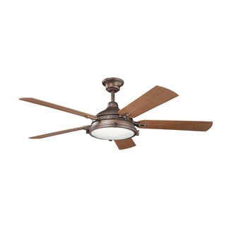 Kichler Lighting Hatteras Bay Patio Collection 60-inch Weathered Copper Powder Coat Ceiling Fan w/Light
