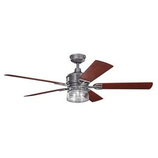Kichler Lighting Lyndon Patio Collection 60-inch Weathered Steel Powder Coat Ceiling Fan w/Light