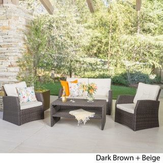 St. Martha Outdoor 4-piece Wicker Chat Set with Cushions by Christopher Knight Home