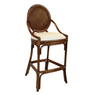 Oyster Bay Indoor Stationary Rattan and Wicker 30-inch Bar Stool With Cushion
