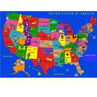 Machine-tufted Nylon 'USA Cartoon Map' Area Rug - EXACT SIZE