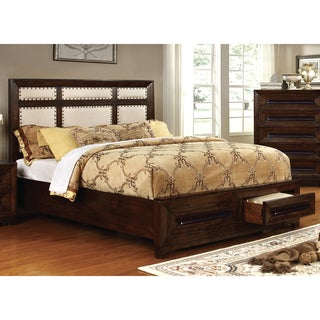 Furniture of America Bradey Simple Walnut Ivory Linen Queen-size Storage Bed