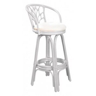 Valencia Indoor Swivel Rattan and Wicker Whitewash 24-inch Counter Stools with Cushion