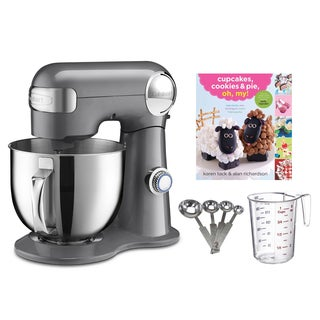 Cuisinart SM-50BC 5.5-Quart Stand Mixer + Measuring Spoons & Cup + Cupcake Book, Brushed Chrome