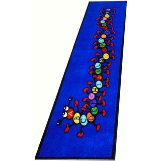Kids World Blue Nylon Machine-tufted Caterpillar Runner Area Rug (3'3 x 9')