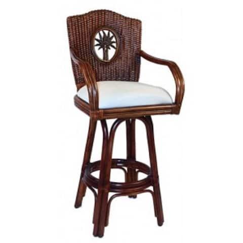 Panama Jack Lucaya TC Antique-finish Rattan and Wicker 30-inch Indoor Swivel Barstool With Cushion