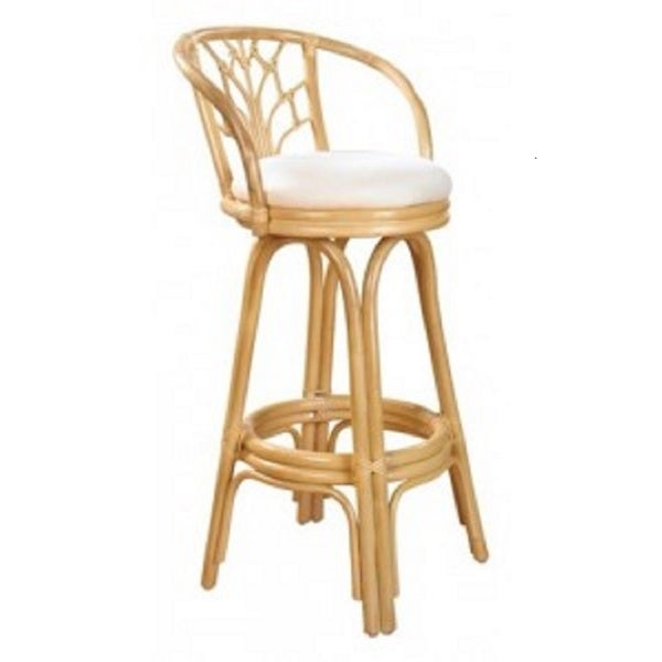 Valencia Natural Finish Rattan And Wicker 24 Inch Indoor Swivel Counter Stool With Cushion