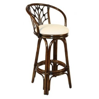 Valencia Antique Finish Rattan and Wicker 24-inch Indoor Swivel Counter Stool with Cushion