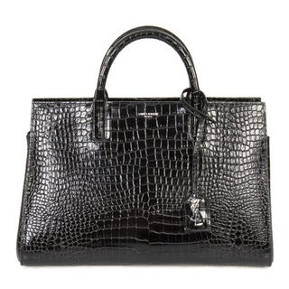 Yves Saint Laurent Rive Small Black Croc Stamped Gauche Satchel Handbag