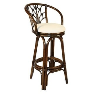 Valencia Antique Finish Rattan Wicker 30-inch Indoor Swivel Bar Stool