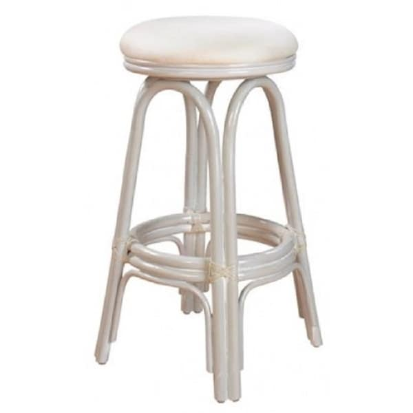 shop carmen indoor swivel rattan wicker 24 counter stool in whitewash finish with cushion as. Black Bedroom Furniture Sets. Home Design Ideas