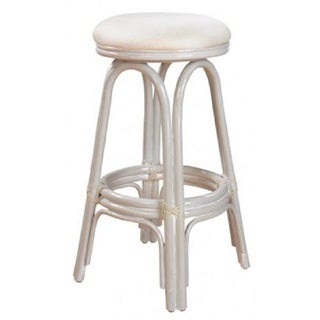 "Carmen Indoor Swivel Rattan & Wicker 24"" Counter Stool in Whitewash Finish with Cushion as shown"