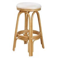 Carmen Natural Finish Rattan and Wicker 23-inch Indoor Swivel Counter Stool with Cushion