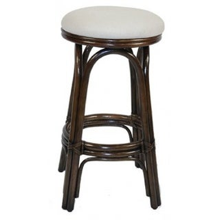 Carmen Indoor Antique Finish Swivel Rattan and Wicker 30-inch Bar Stool with Beige Cushion