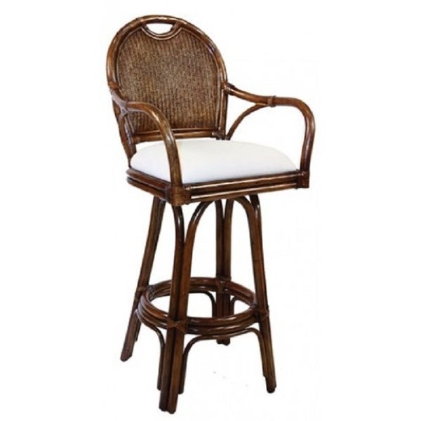 Key West Antique White Rattan And Wicker 30 Inch Indoor Swivel Cushioned Barstool