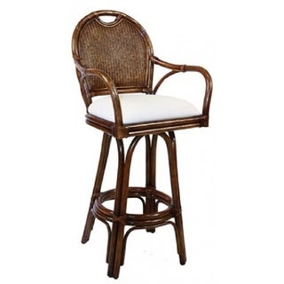 Key West Antique White Rattan and Wicker 30-inch Indoor Swivel Cushioned Barstool