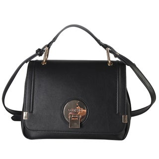 Diophy Faux Leather Front Logo Small Crossbody Handbag