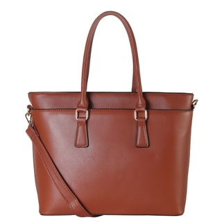 Diophy Saffiano Brown Faux-leather Multi-spaced Large Tote Handbag