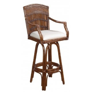 Captivating Polynesian Indoor Swivel Antique Finish Bamboo And Rattan Bar Stool With  Cushion