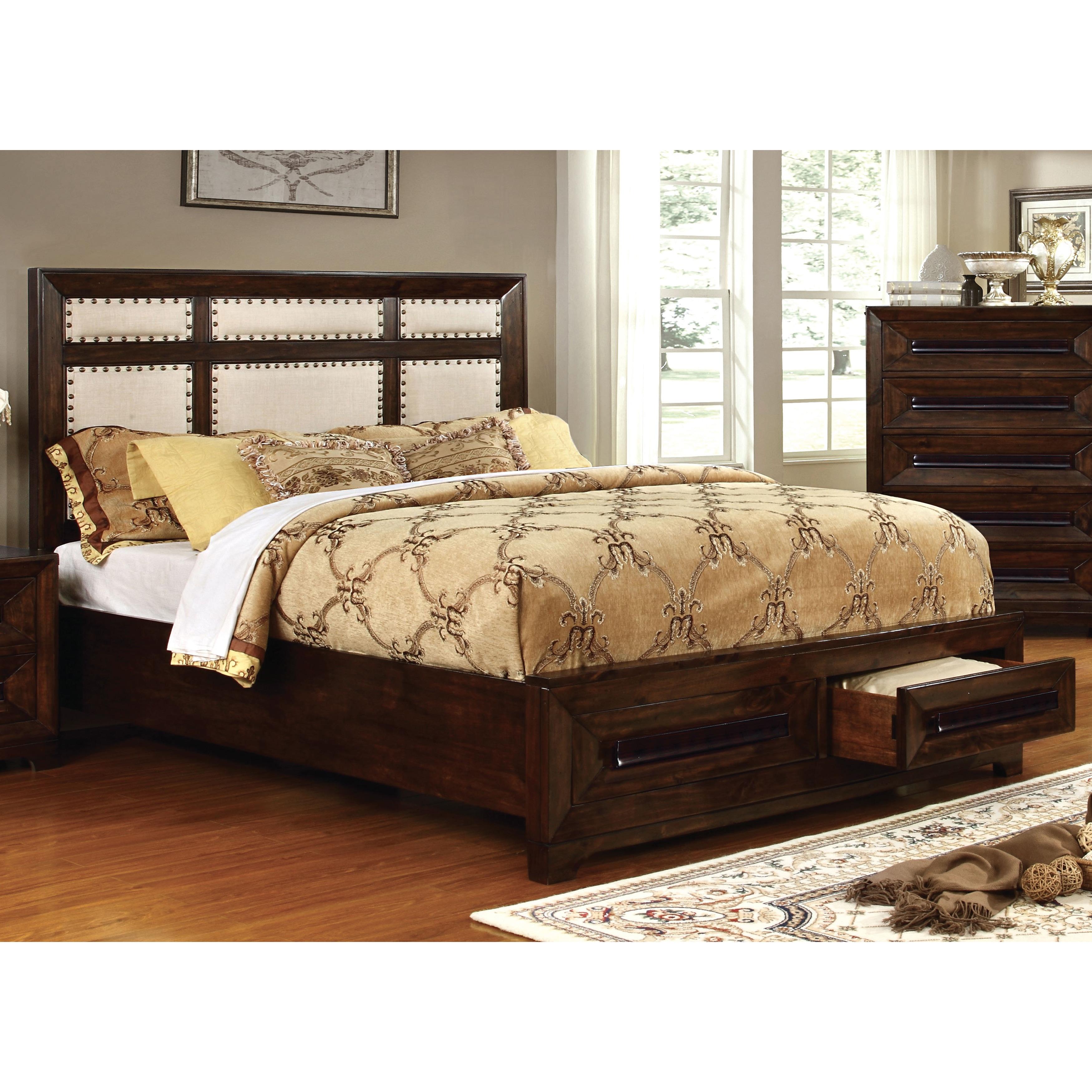 Furniture of America Bradey Simple Walnut Ivory Linen Kin...