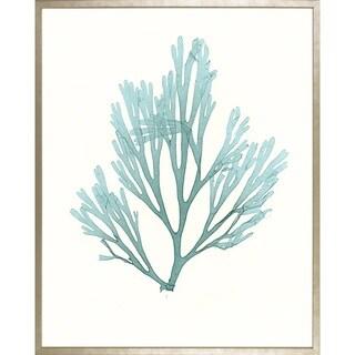 Art Virtuoso Ambler Art Group 'Azure Seaweed' Champagne-wood-framed Giclee Art Print