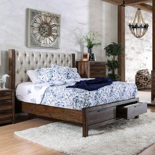 furniture of america andrea ii contemporary button tufted wingback rustic natural tone storage bed