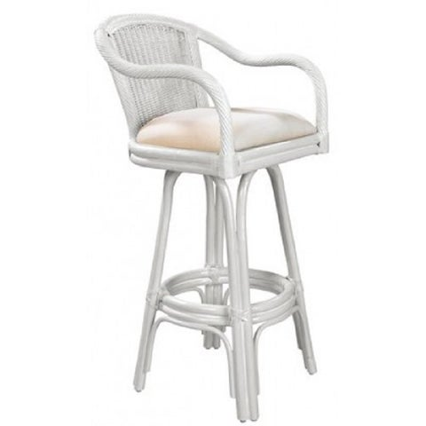 """Key West Indoor Swivel Rattan & Wicker 24"""" Counter Stool in Whitewash Finish with Cushion as shown"""