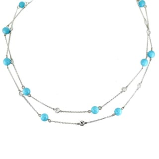 Michael Valitutti Palladium Silver Sleeping Beauty Turquoise Necklace