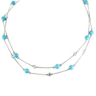 Michael Valitutti Palladium Silver Reconstituted Turquoise Necklace