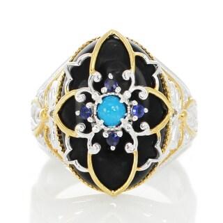 Michael Valitutti Palladium Silver Black Onyx, Blue/Red Jade and Blue Sapphire/Ruby Ring