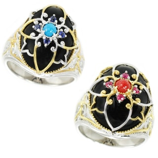 Michael Valitutti Palladium Silver Black Onyx, Blue/Red Jade and Blue Sapphire/Ruby Ring