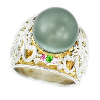 Michael Valitutti Palladium Silver Tahition Peacock Pearl, Chrome Diopside and Pink Sapphire Ring