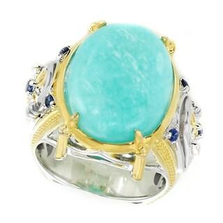 Michael Valitutti Palladium Silver Amazonite and Blue Sapphire Ring