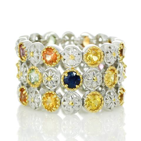 Michael Valitutti Palladium Silver Multi Sapphire Flex Band Ring