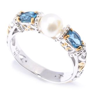 Michael Valitutti Palladium Silver Pearl and London Blue Topaz Ring